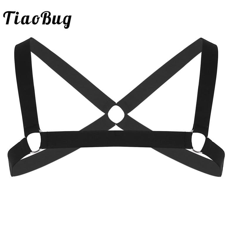 TiaoBug Men Shoulder Straps X-Shape Black Elastic Chest Harness Metal Rings Hot Sexy Bondage Belt Fancy Club Party Costume Top