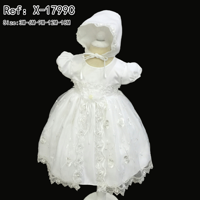 Factory Wholesale Cotton Lining Infant Dress Embroidery 2016 New Dress For 1 Year baby girl birthday Baby Christening Gown 1799C