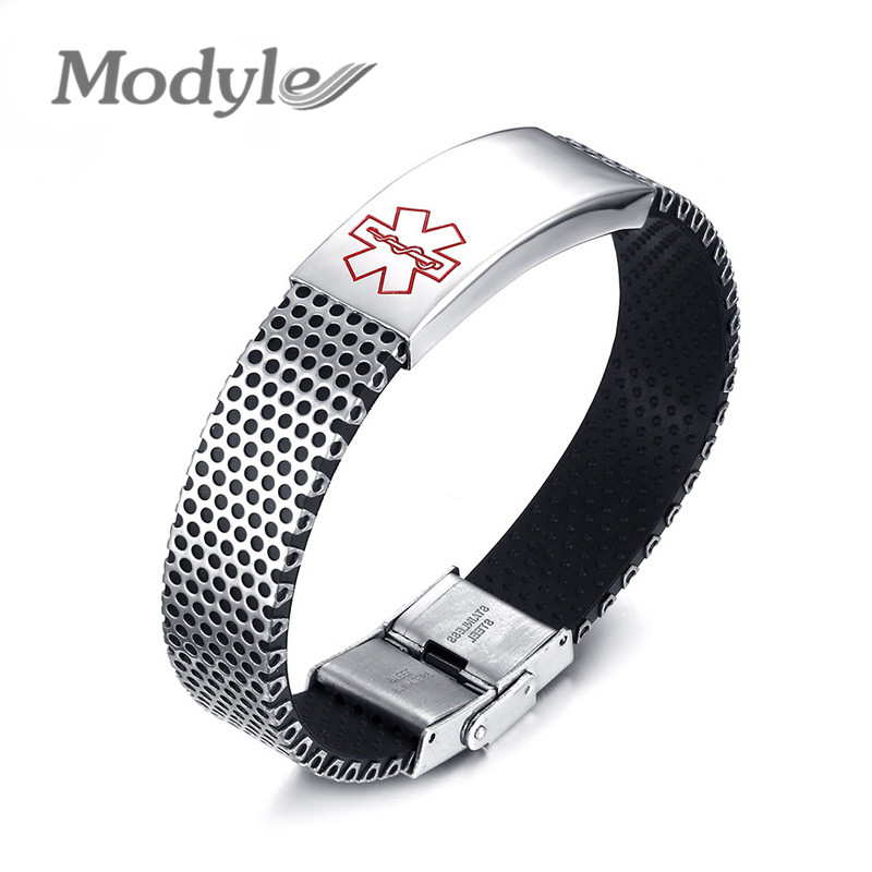 Modyle Blue Red Medical Sign Stainless Steel Bending Bracelet Men Women Lovers Bracelets Bangles Fashion Jewelry Pulseira