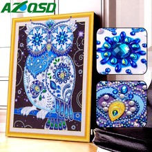 AZQSD Diamond Painting Cartoon Owl Cross Stitch DIY Embroidery Rhinestones Picture Mosaic Animal Sale 40x50