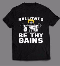 Santificado seja teus ganhos-jesus gymer tshirt da velha escola masculina engraçado manga curta t