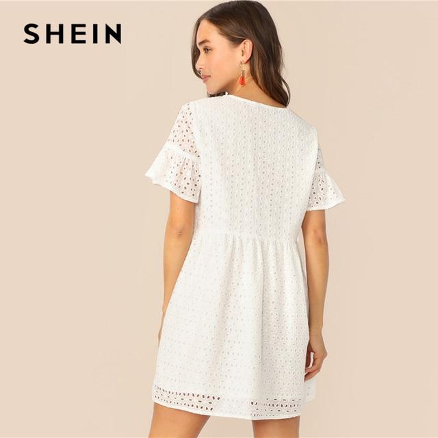 SHEIN Boho White Flounce Short Sleeve Solid Schiffy Straight Summer Lace Dress Women Elegant O-Neck Tunic Shift Cute Dresses 1
