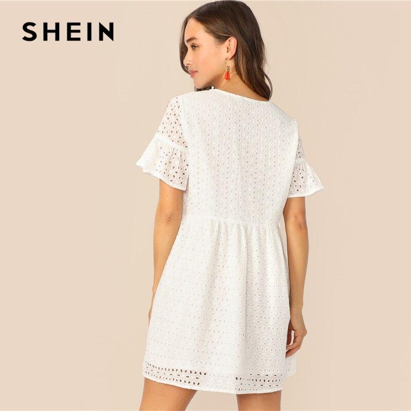 SHEIN Boho Flounce Short Sleeve Solid Schiffy Straight Summer Lace Dress Women Elegant O-Neck Tunic Shift Cute Dresses