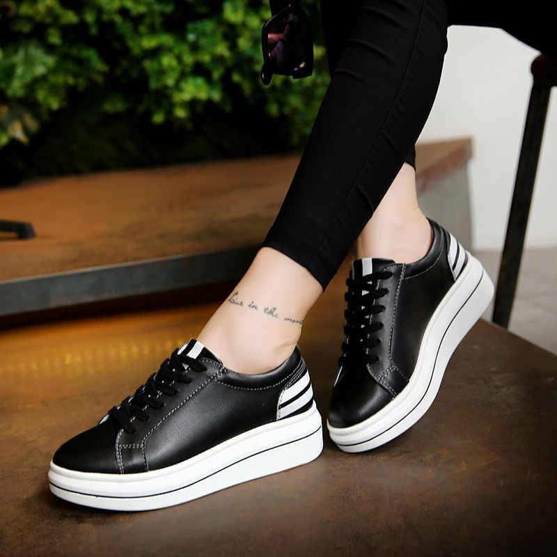 Zapatos de tacón alto de cuero genuino 2018, nuevos mocasines, zapatos de Tacón de Cuña informales, zapatos de plataforma blancos y negros, zapatos de mujer con cordones para mujer