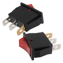 10Pcs/Lot 3Pin 15A 250V Dashboard ON-OFF Rectangle Rocker Dash Toggle Switch I-0 Sign Red Popular