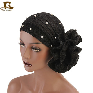 Image 4 - New fashion Women Muslim beaded glitter Turban India Cap Big Flower Headband Wedding Party Hair Lose Head Wraps Accessories