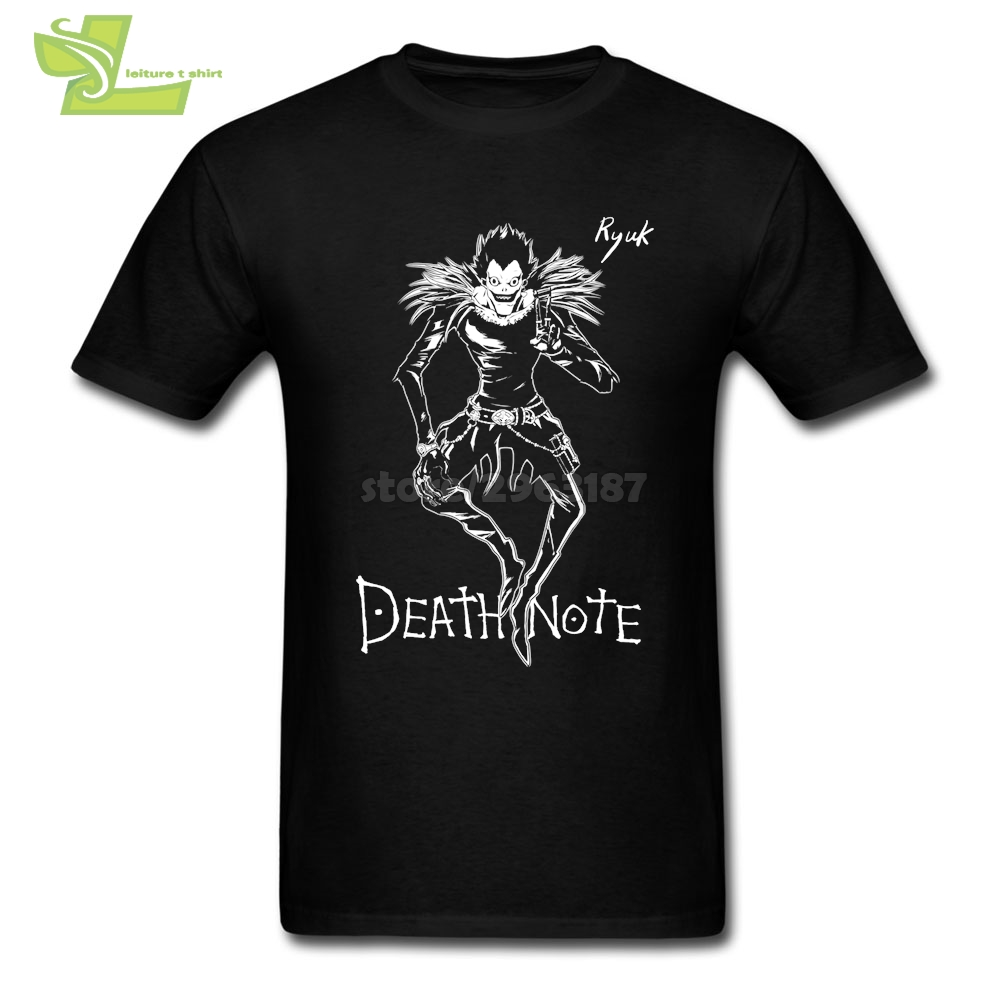 Death Note Anime Cool T Shirts for Men Teenage Cotton Short Sleeved Tee Print Blue Men T-Shirt