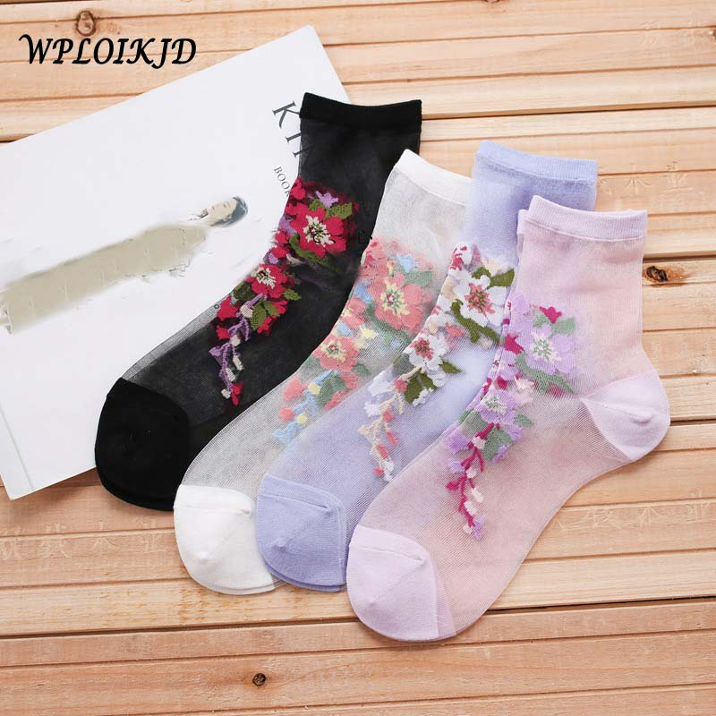 [WPLOIKJD]Silk Lace Glass Harajuku Embroidery Flowers Transparent   Socks   Japanese Mesh   Socks   Women Hipster Meias Calcetines Mujer