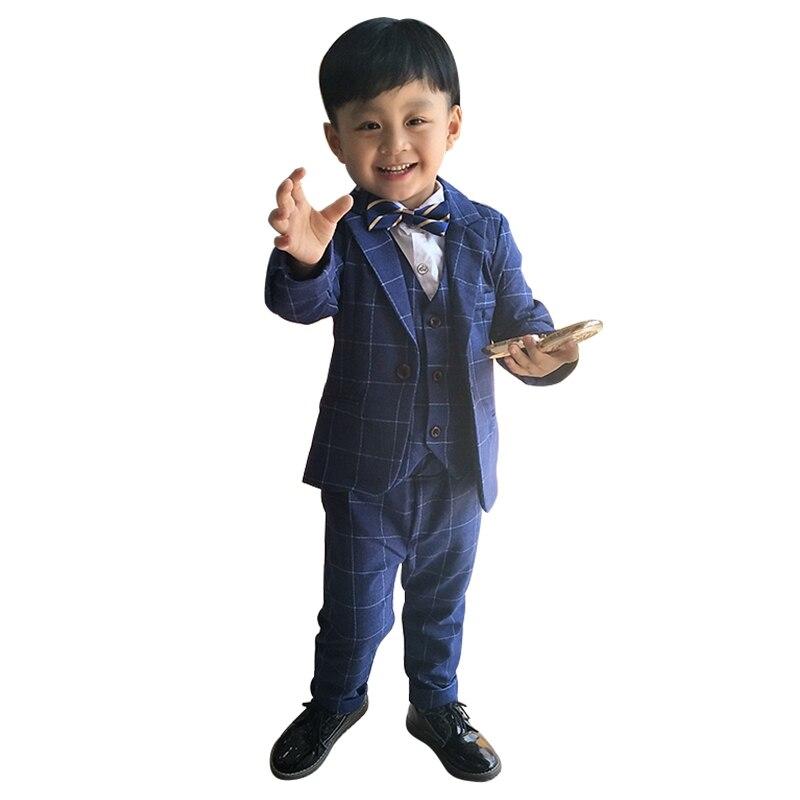 Baby suit 2018 new set three-piece childrens boy suit with velvet British style flower child dressBaby suit 2018 new set three-piece childrens boy suit with velvet British style flower child dress
