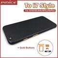 Fosco caixa preta com ouro para iphone 5 5s metal de alumínio de volta tampa da porta da bateria de substituição para 7 estilo para iphone 6 6 s plus