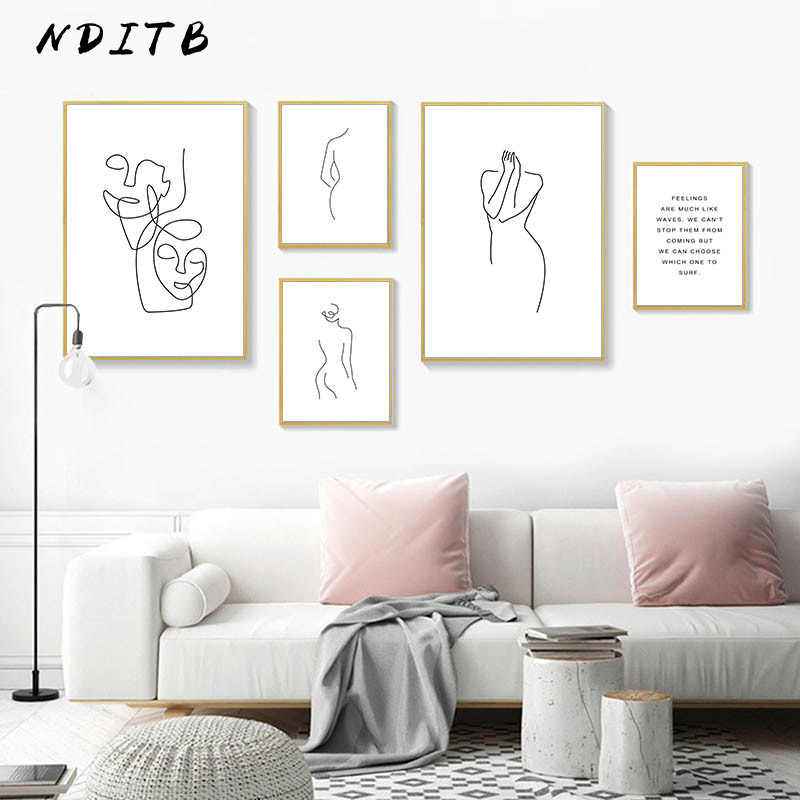 Line Drawing Woman Face Wall Art Abstract Poster Print Minimalist Canvas Painting Decorative Picture Modern Living Room Decor
