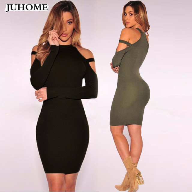 hot Women Clothes Sexy Tunic office Dress 2018 black Long sleeve Off  Shoulder Bandage Mini Dress Pencil Bodycon robe body Female 607992b64d64