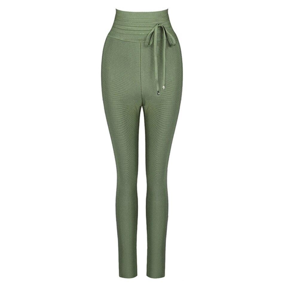 Women High Waist Ladies Bandage Women Pants Leggings 2019 New Evening Party Club Bodycon Solid Casual Long Pencil Pants