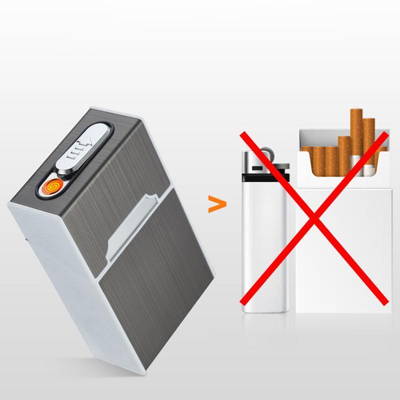 Detém 20 Cigarros USB Carga Isqueiro Integração Da Liga do Zinco Caso do Cigarro Caixa de Cigarro Mais Leve Caixa de Presente Recipiente