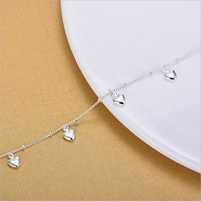 TJP sevimli kalp kız gümüş bilezik takı yeni moda 925 gümüş halhal kadınlar için takı moda kadın bayan noel hediyesi