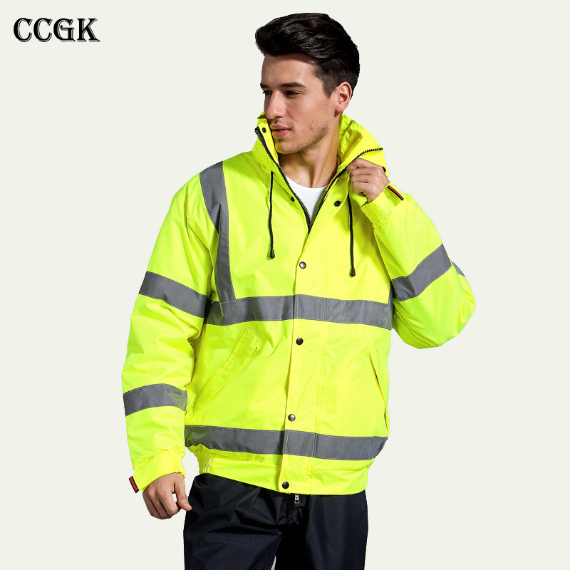 CCGK safety clothing outdoor high visibility reflective jacket waterproof rain coat  warm cotton padded work wear winter outwear