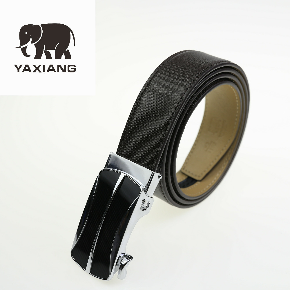 2018 Genuine Leather Mans Belt Black Ratchet Belts for Men Automatic Buckle Luxury Brand Jeans Gift 3.5cm Width Male Accessory