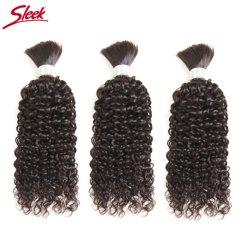 Sleek Remy Human Hair Indian Kinky Curly Bundles Hair For Braiding In Natural Color 8 To30 Inch Crochet Braids No Weft Hair Bulk