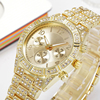 Men Watch Luxury Brand Fashion Casual Gold Watches Diamond Quartz Clock Three Eyes Relogio Stainless Steel