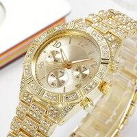 Männer Uhr Luxury Brand Fashion Casual Gold Uhren Diamant Quarzuhr Drei Augen Relogio Edelstahl Schließe Runde Uhren