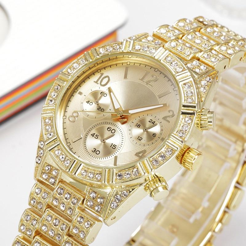 Men Watch Luxury Brand Fashion Casual Gold Watches Diamond Quartz Clock Three Eyes Relogio Stainless Steel Clasp Round Watches