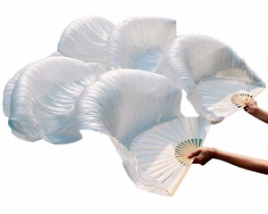 Image 4 - Hot Selling 100% Silk Unisex High Quality Chinese Silk Veil Dance Fans 1Pair Belly Dance Fans Hot Sale Pure White Color 180*90cm