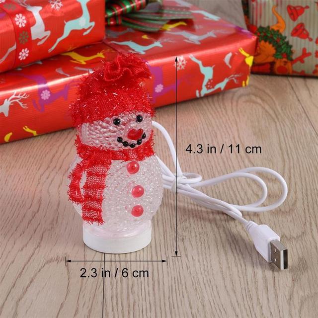 Christmas Glowing Snowman LED Light USB Night Light RGB 7 Color Flashing Light Bedroom Table Lamp Decorative Lamp Christmas