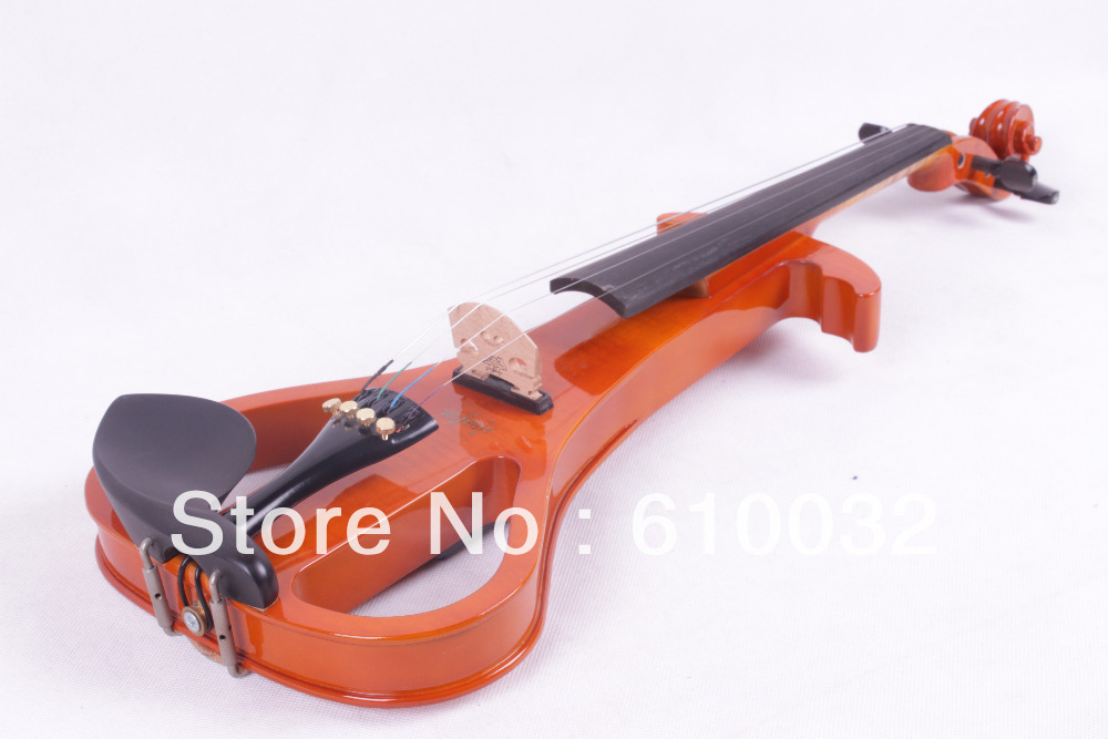 4/4 Electric Violin Solid wood Silent Pickup Fine #3-6 orange  color 4  string 4 4 electric violin solid wood 7 8 silvery more color 4 string