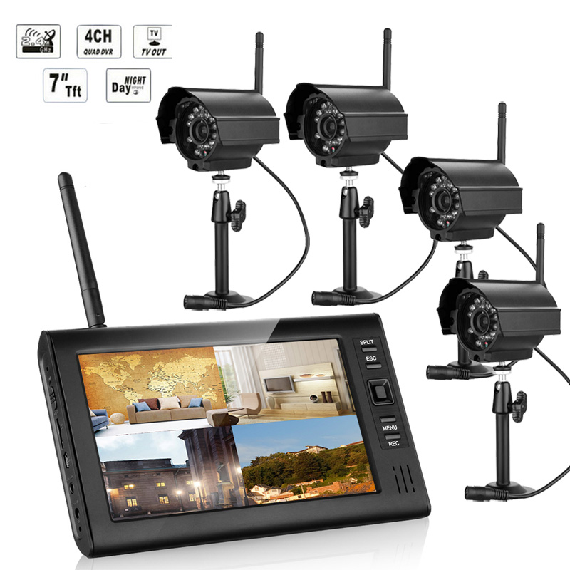 7 inch TFT Digital 2.4G Wireless Cameras CCTV Kit 1V 4 Audio Video Baby Monitors 4CH Quad DVR Security System,  IR night light kitaplsw222cox01761ea value kit amplivox wireless audio portable buddy professional group broadcast pa system aplsw222 and clorox disinfecting wipes cox01761ea