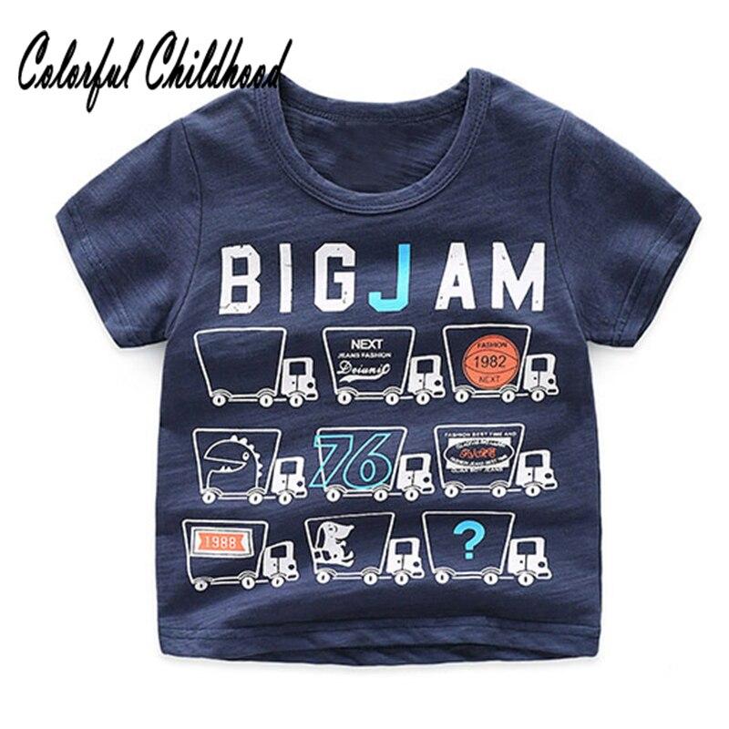Boys Shirt Tops Short-Sleeve Printing Toddler Cartoon-Pattern Children Summer 2-10yrs