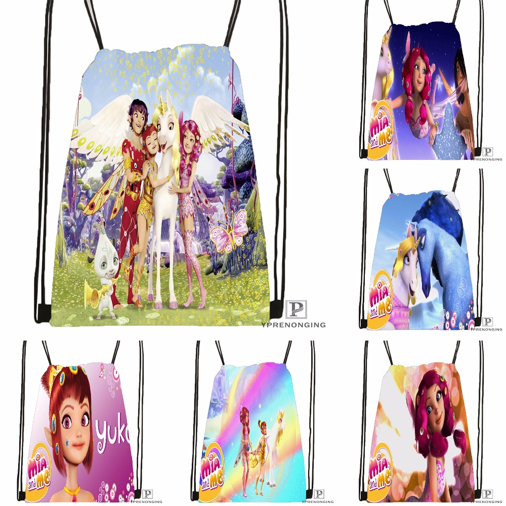 Custom Mia And Cartoon Me Drawstring Backpack Bag Cute Daypack Kids Satchel (Black Back) 31x40cm#180531-02-06