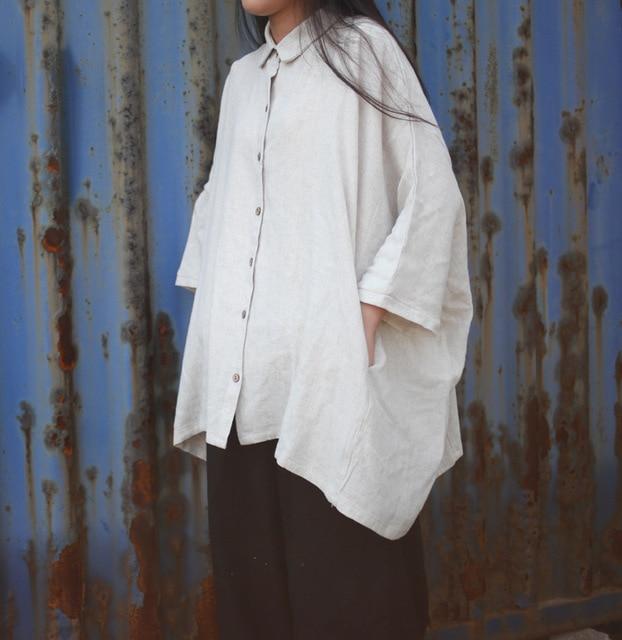 Women White Linen loose shirts long sleeve turn down collar blouse casual Plus Size blusas Feminine Blouse Retro Shirt Camisas 6
