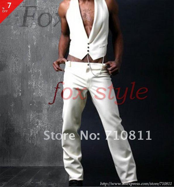 Pantalones para hombre pantalones vaqueros en blanco color de goma de látex