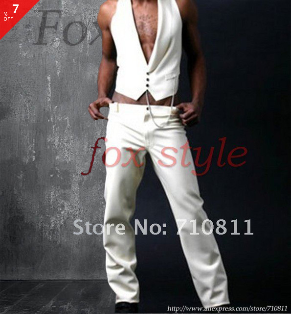 latex  trousers for man jeans in white color rubber