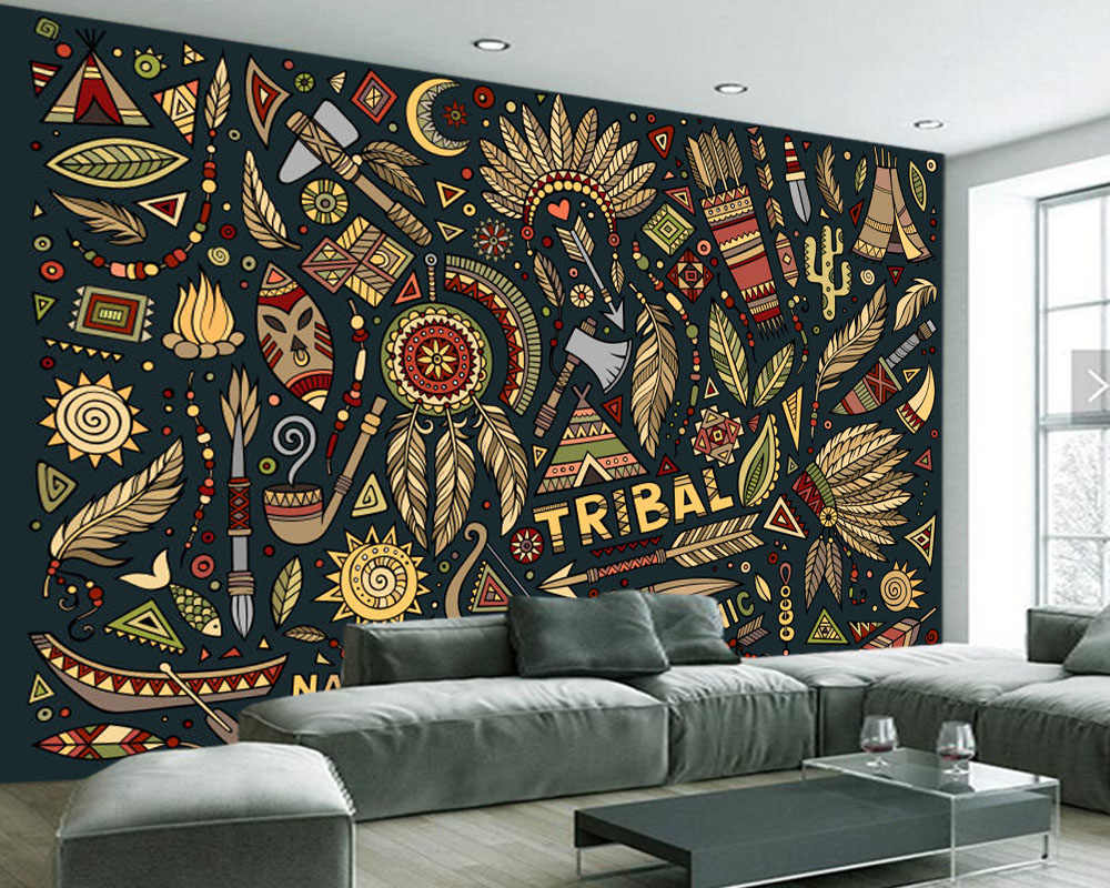 Papel De Parede Gaya India Doodle 3D Wallpaper ruang Tamu Sofa TV Dinding Kamar Tidur Dinding Kertas Dekorasi Rumah Restoran Bar Mural