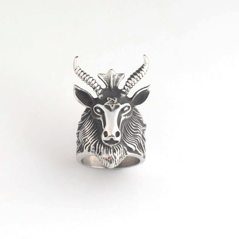 Vintage Antique Silver Men Rings Satan Worship Baphomet Ram Aries Zodiac Rings Goat Head Jewelry Anillos in Rings from Jewelry Accessories
