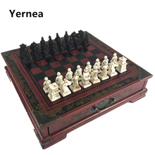 New Wood Chess Chinese Retro Terracotta Warriors Do old Carving Resin Chessman Christmas Birthday Premium Gift Yernea