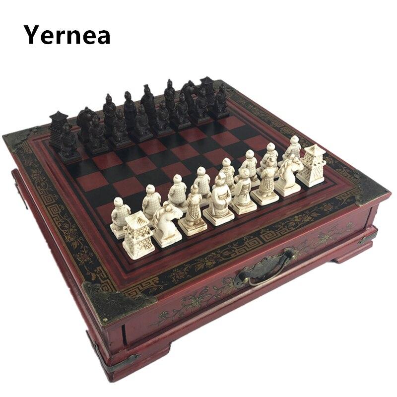 New Wood Chess Chinese Retro Terracotta Warriors Chess Wood Do old Carving Resin Chessman Christmas Birthday Premium Gift Yernea