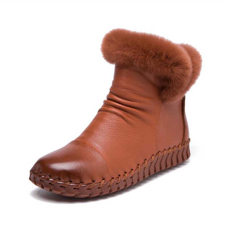 52a1c9967 ... Женская обувь, однотонные женские зимние сапоги ручной работы из  натуральной кожи, с круглым носком ...