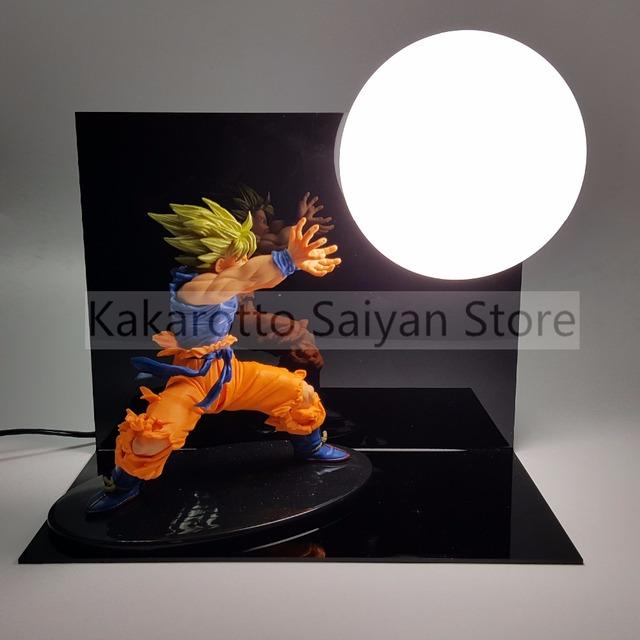 Figuras de Ação Dragon Ball Z Son Goku Super Saiyan Kamehameha Anime Dragon Ball Z DBZ Brinquedo Modelo + Lâmpada + Base