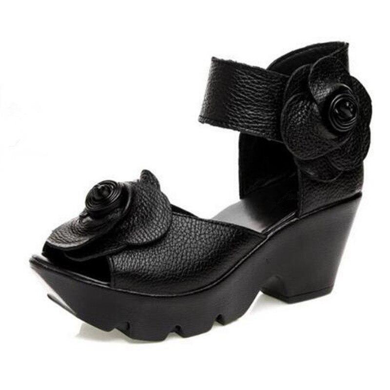 2019 ベストセラー新エレガントなファッションサンダル夏の女性のサンダル花カウレザーサンダル結婚式の靴の女性の靴  グループ上の 靴 からの ハイヒール の中 2
