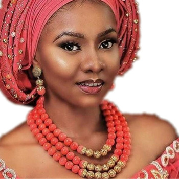 Nigeria Costume Original Round Coral Beads Jewelry Set Plated Gold 3 Layers Indian Wedding Jewellery Sets for Women Dubai 2018