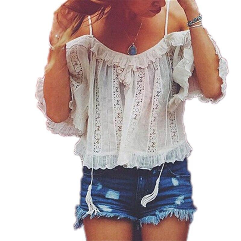 New Summer 2016 Women Sexy Off Shoulder <font><b>Ruffles</b></font> Blouse <font><b>Crop</b></font> <font><b>Tops</b></font> Casual Loose White Shirts <font><b>Lace</b></font> Crochet Blusas Plus Size Blusas