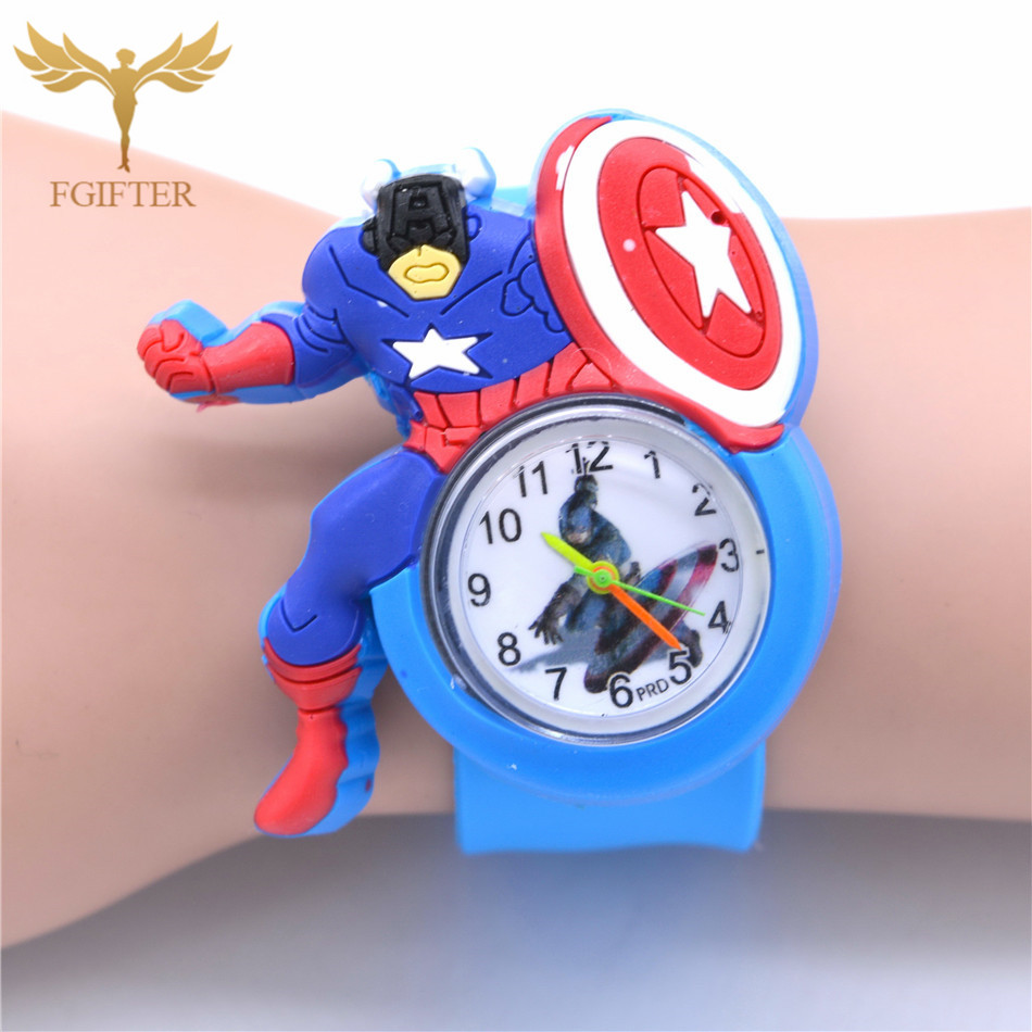 Kid Watches Captain America Cartoon Boys Watches Quartz Superman Avengers Anime Child Clocks Children Boy Gifts
