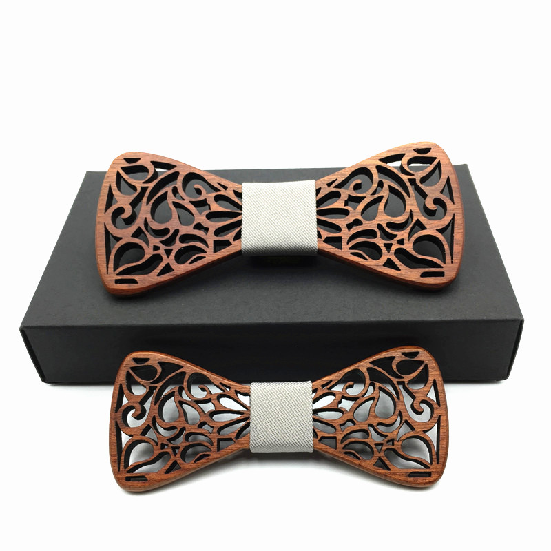 wooden Bow Tie new year father and son set Accessories Solid Color Gentleman Shirt Neck Tie Bowknot butterfly men's tie