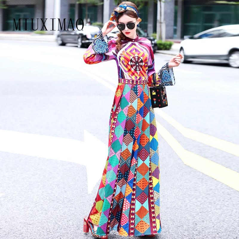 MIUXIMAO 2019 Top Quality Newest Autumn Fashion Spring A-Line Stand Neck Full Sleeve Print Elegant Floor-Length Long Dress Women
