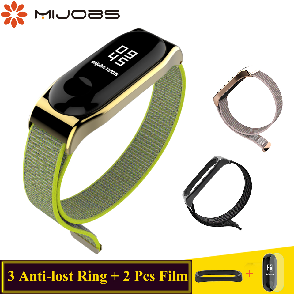 Mijobs Mi Band 4 3 Strap Bracelet Sport Nylon Wristband Smart Watch Band Mi Band 4 3 Wrist Strap For Xiaomi Mi Band 4 3 Bracelet