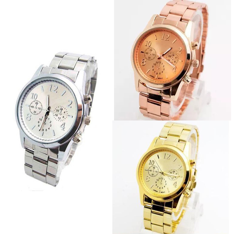 Hot Sale! Fashion Golden Watch Men Women's Casual Quartz-Watch Stainless Steel Dress Wristwatch Relogio Masculino Clock LZ2206 2016 hot sale fashion brand men watch stainless steel band quartz wrist watch casual business watch relogio masculino clock