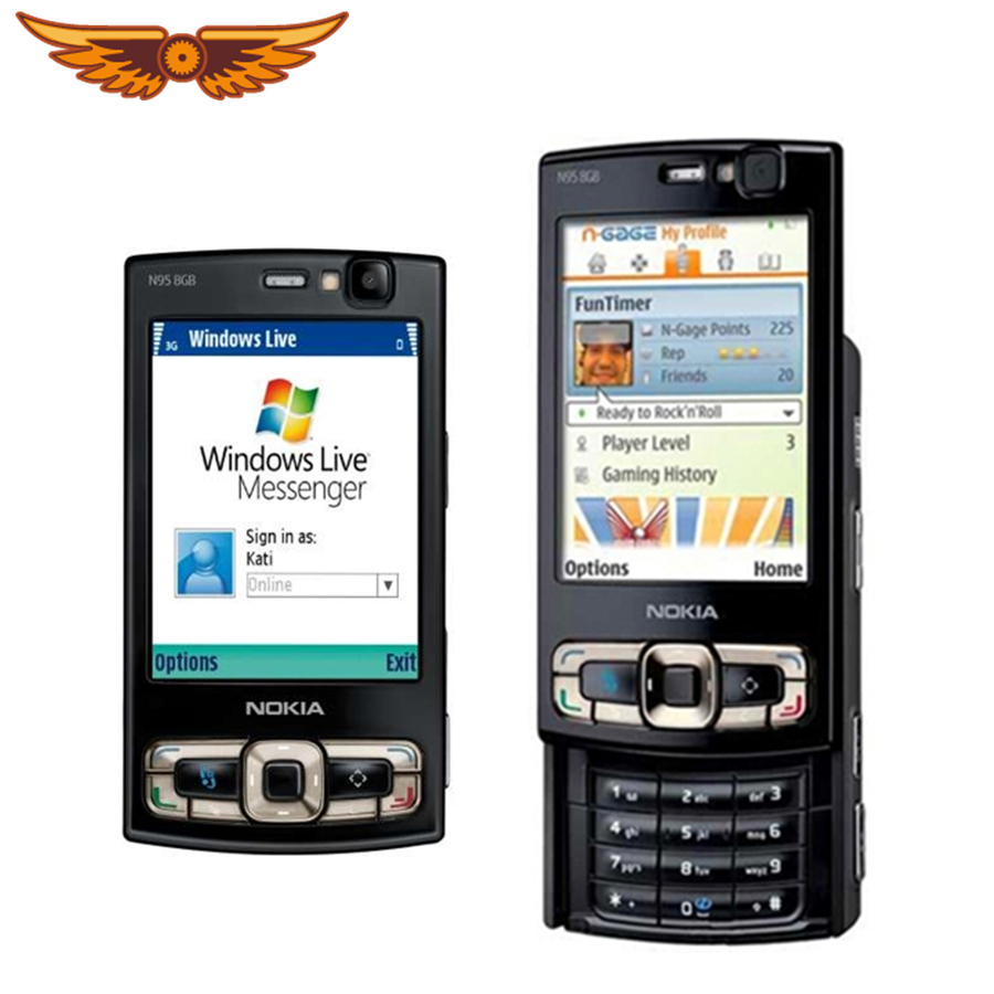 Phone Mobile Free One Original Nokia Warranty N95 Year 5mp Shipping Storage Camera 8gb Unlocked