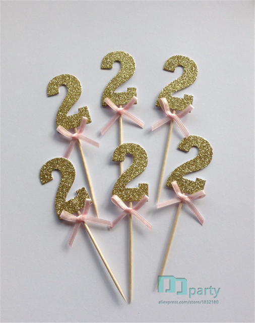 Gold Glitter Number 2 Cupcake Toppers With Pink Bow 2nd Birthday Cake Wedding Anniversary